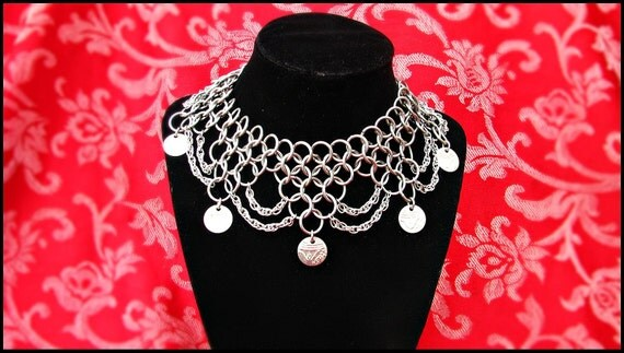 Deluxe Bellydance Coin Mantle Stainless Steel Silver Chainmail Chainmaille