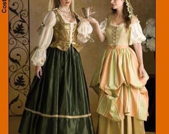 Elegant Renaissance Pattern Bodice Skirt Chemise French Hood Veil SCA Renaissance Fair Plus Size 16 18 20 Simplicity 3809