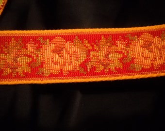 true tapestry jacquard Ribbon Trim red yellow rose tapestry trim 1 inch wide 10 yards long