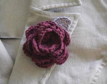 Organic Cotton Crochet Rose Brooch in Garnet Color