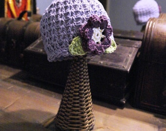 6-12 Months Bilberry crochet baby hat with flower and leaves from very soft Organic Cotton Yarn