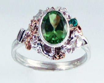 Peridot and Emerald Steampunk Ring