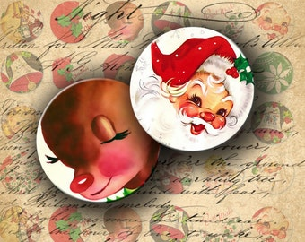 INSTANT DOWNLOAD 1950s Christmas Vintage Postcards 1 inch circles for your Artwork - DigitalPerfection digital collage sheet 505