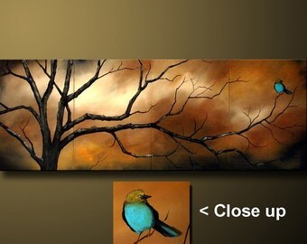 Abstract Landscape Art Painting Large Art Original Modern Large Abstract Bird Acrylic Painting Large Wall Art Birds Tree Art Made to Order