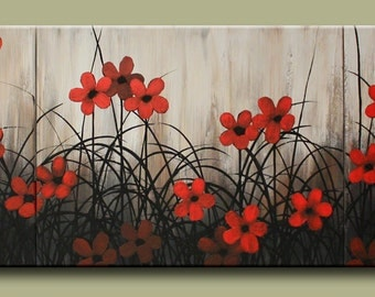 Red Floral Wall Art Painting on Canvas Large Wall Art Poppy Art Flowers Original Painting Contemporary Red Floral Painting Large Canvas