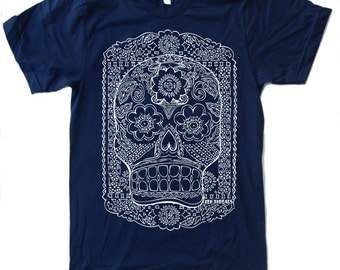 Mens DAY Of The DEAD T-Shirt s m l xl xxl (+ Color Options) hand screen printed