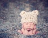 Newborn Baby Bear Hat - Baby Boy Hat - Crochet Baby Hat - Knit Hat - Photo Prop - Baby Beanie - Animal Ears - Halloween Costume Hat
