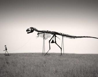 "T-Rex Dinosaur Nature Photography ""Mans Best Friend"" Skeleton Black and White Photograph - Funny Gothic Landscape Wall Decor  Photo Print"