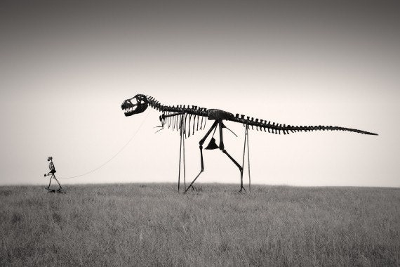 "T-Rex Dinosaur Nature Photography ""Mans Best Friend"" Skeleton Black and White Photograph - Funny Gothic Landscape Wall Decor  Photo Print"