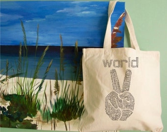 Canvas Tote Bag, World Peace, Reusable Grocery Bag, Shopping Bag, Reusable Tote Bag, peace sign, travel beach bag, recycle, gift for her