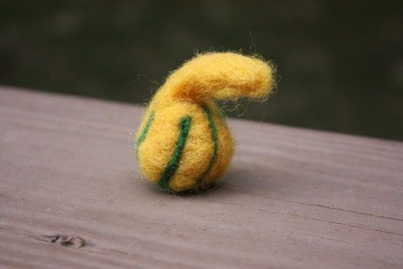 Felted Gourd, Yellow and Green Gourd, Squash, Hand Felted, Fall Decoration, Thanksgiving, Halloween, Made of Marino