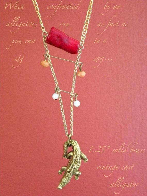 SALE - Brass Alligator Necklace - Zig Zag necklace - 18k gold chain - jade necklace - vintage brass alligator - OOAK necklace - crocodile