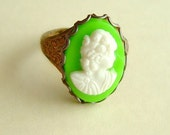 Neon Green Cameo Ring Vintage Lady Portrait Cameo Adjustable Funky Retro Neo Victorian