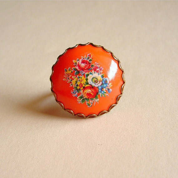 Floral Cameo Ring Vintage Orange Cabochon Chunky Large Retro Ring Tangerine