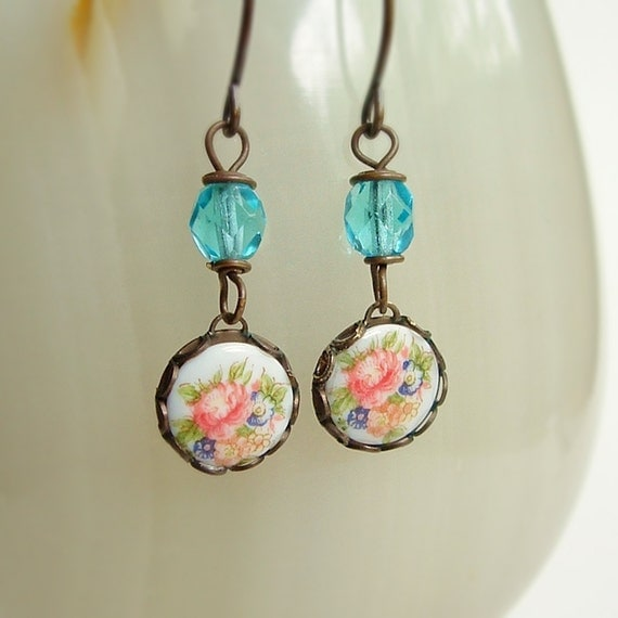 Small Floral Cameo Earrings Vintage Rose Glass Limoge Cabochons Blue Glass