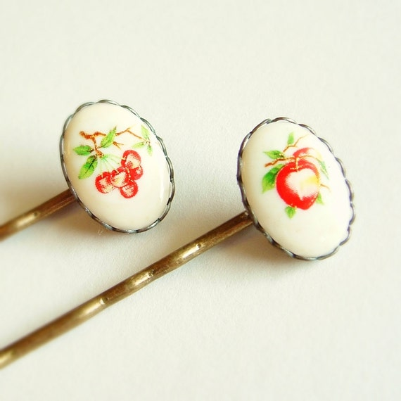Fruit Hair Pins Vintage Glass Fruit Cameo Bobby Pins Cherry Accessories Fruit Accessories