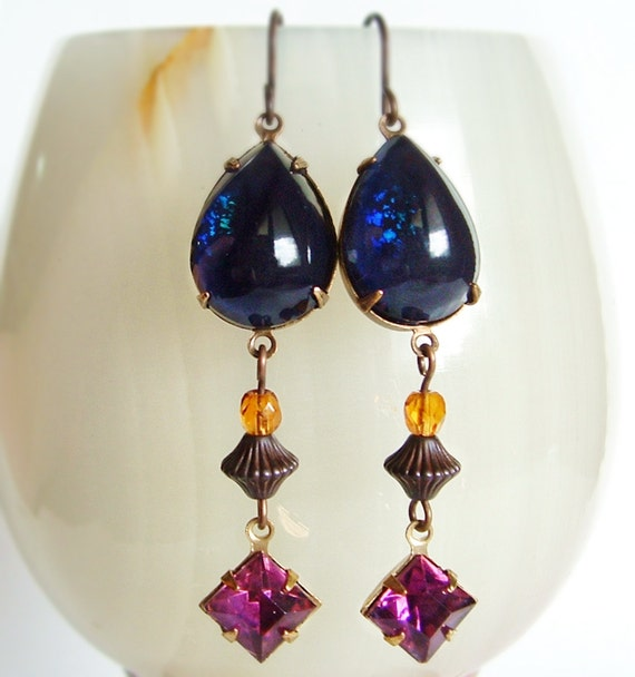Dark Blue Glass Earrings Vintage Glass Jewels Indigo Glitter Long Victorian Dangle