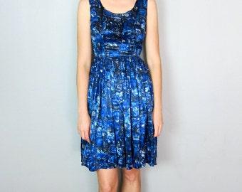 Beautiful Blue Satin Patterned 60's Dress