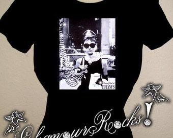 Audrey Hepburn Breakfast at Tiffany's Rhinestone Crystal T Tee Shirt Top Glamour Rocks bling