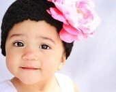 Crochet Beanie Hat in black for baby, toddler or child, Flower Sold Separately