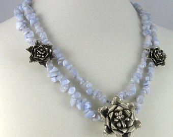 Blue and Silver Flowers Necklace, double strands of blue lace agate gemstone chips, gemstone statement jewelry