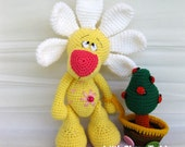 Crochet toy Amigurumi Pettern - Camomile bear with a small tree in a cart.