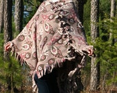 Gray Fleece Poncho with Fuchsia, Chocolate, White & Purple Paisley