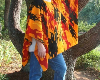 Up in Flames Clint Eastwood Style Fleece Poncho
