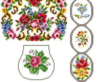 Odds and ends floral x 3 charts - Cross stitch pattern PDF. Instant download.