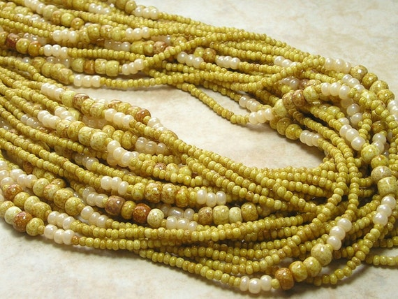 42 Inch Opaque Light Sandstone Picasso Mixed Czech Glass Bead Strand (A161)