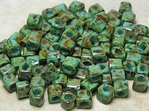 4mm Opaque Turquoise Picasso TOHO HYBRID Glass Cube Beads 10 Grams (D281)