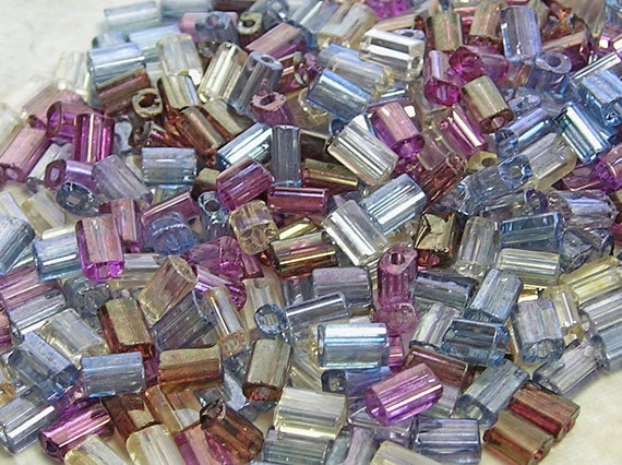 SHIMMERING 5x3mm Jewel Tones Czech Glass Baby Pillow Beads 10 Grams (CS162)