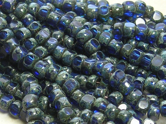 2/0 3 Cut Transparent Sapphire Picasso Firepolished Czech Glass Seed Bead Strand