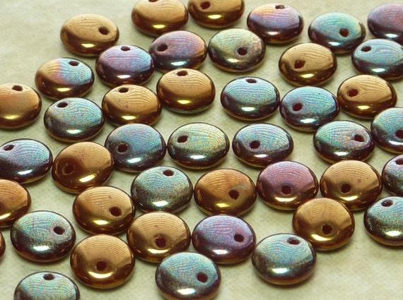BEAUTIFUL 6mm Metallic Copper Iris Czech Glass Lentil Beads