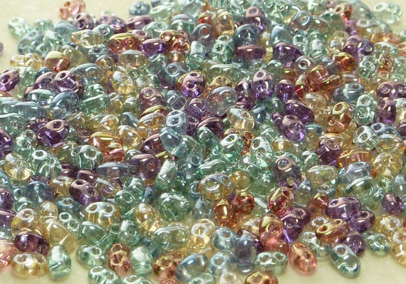 5x2mm Jewel Tones Lumi Luster Mix Two Hole Czech Glass TWIN Seed Beads 10 grams