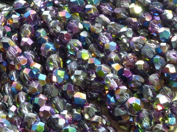 6mm Faceted Magic Lilac Firepolished Czech Glass Beads (D53)