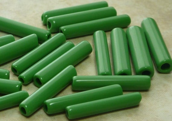 Vintage 25mm Large Hole Opaque Green Made in Italy Glass Tube Beads