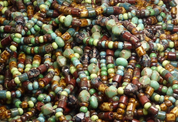 Bohemian Gypsy Picasso Mix 5mm Vintage Tile Beads 6mm Bicone Beads 7x4mm Faceted Rondel Beads and 6/0 Czech Glass Seed Beads 6 Strand Hank