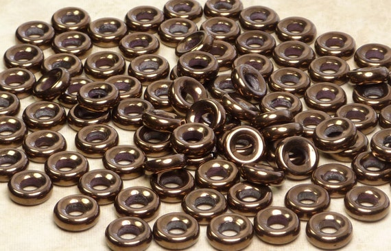 9mm Metallic Bronze Czech Glass Seamless Rondel Beads LARGE 4mm Hole
