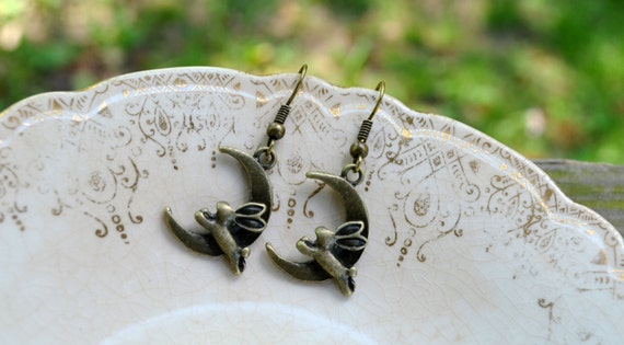 Bunnies Jumping Over the Moon Earrings - Easter - Rabbit - Spring - Moon - Bunny - Gifts Under 25 - Woodland - Rabbit - Antique Bronze