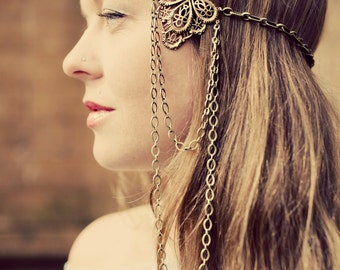 Victorian Chain Headdress. Brass. Chain Headband. Hair Chain