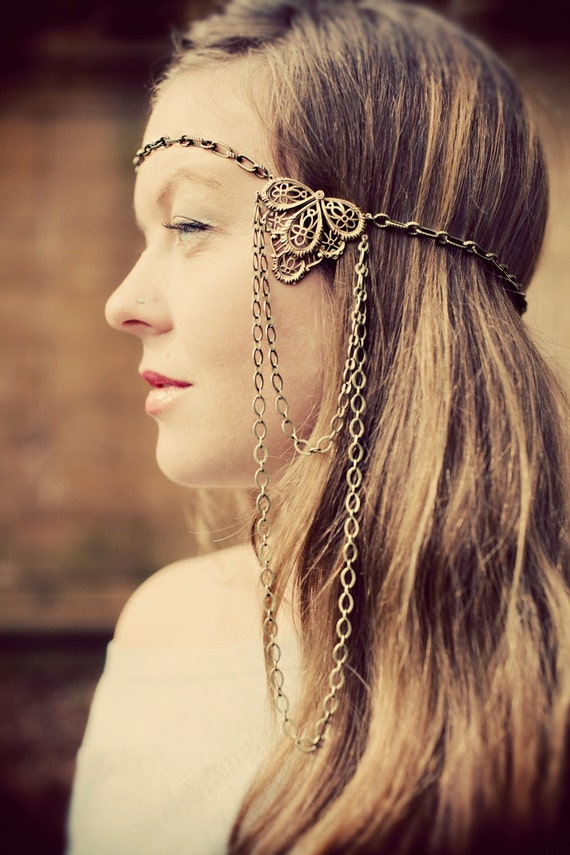 Victorian Chain Headdress. Brass. Chain Headband. Hair Chain
