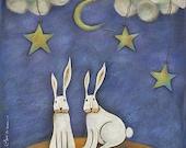 Illustration Print Art Rabbit - Sky of stars - Limited edition - Original Acrylic Painting Sara Cancian by Ilgrandealbero