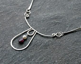 Modern Silver Bar Link and Garnet Necklace