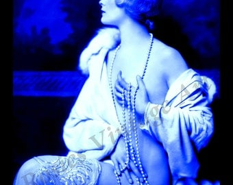 Flapper Nude Girl in Blue with Pearls - Fine Art Print - Glamor Art Print - Retro Wall Art - Blue Bedroom Decor