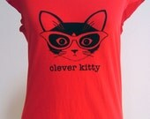 Red Clever Kitty Sheer Jersey Tee