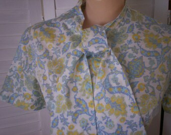 Blouse, Shirt Short Sleeve Linen with Bow in Periwinkle Print  - Size S-M