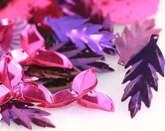 Hot PINK and Royal Purple - Razzle dazzle - Vintage Sequins - Fun Pack (50 plus)