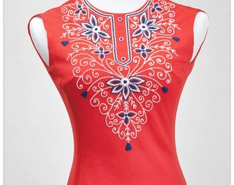 Vintage Red, White and Blue Mini Mod Embroidered Dress