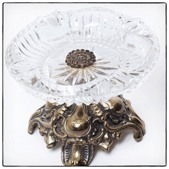 Fancy Vintage Glass and Brass Ashtray or Candy Dish, vestiesteam